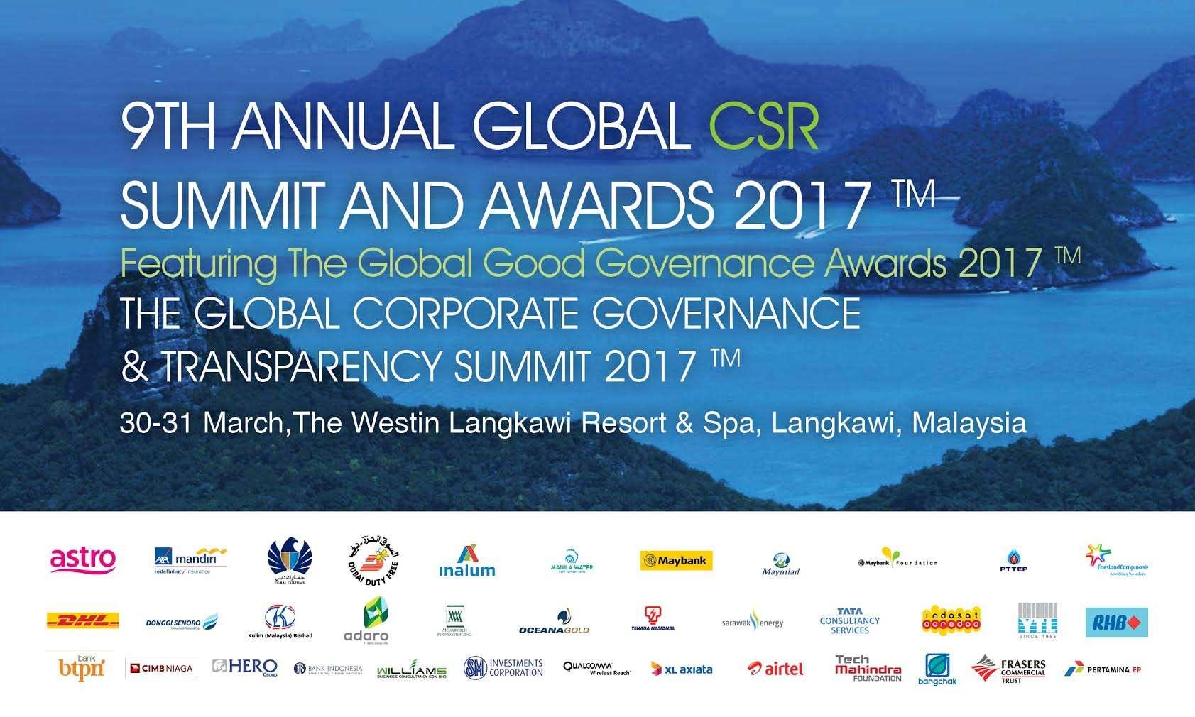 9TH ANNUAL GLOBAL CSR SUMMIT 2017 DIGELAR DI LANGKAWI MALAYSIA